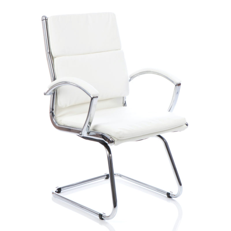 Classic Cantilever Chair White With Arms