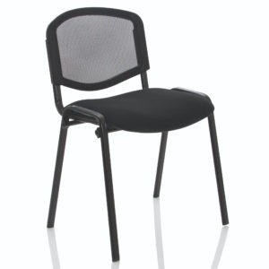 ISO Stacking Chair Mesh Back Black Fabric Black Frame Without Arms
