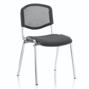 ISO Stacking Chair Black Mesh Chrome Frame Without Arms