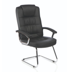 Moore Deluxe Visitor Cantilever Chair Black Leather With Arms