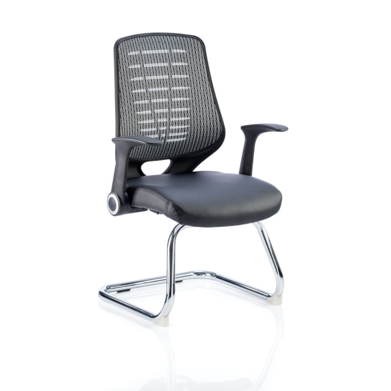 Relay Cantilever Leather Seat Silver Back With Arms