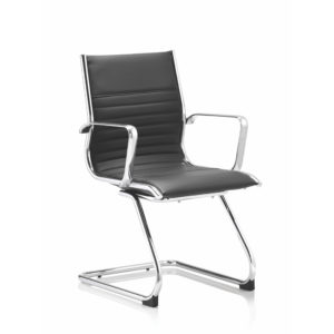 Ritz Cantilever Chair Black Bonded Leather With Arms