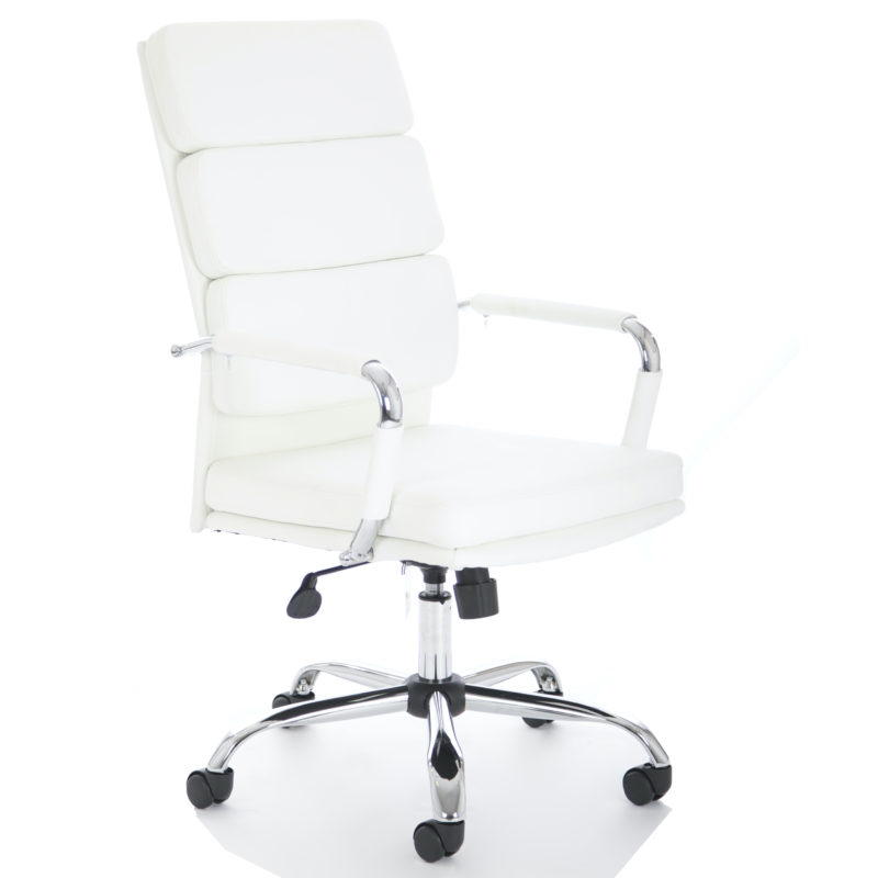 Advocate Executive Chair White Bonded Leather With Arms