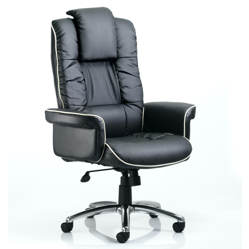 Chelsea Executive Chair Black Bonded Leather With Arms