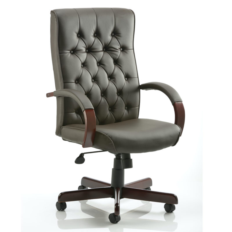 Chesterfield Executive Chair Brown Leather With Arms