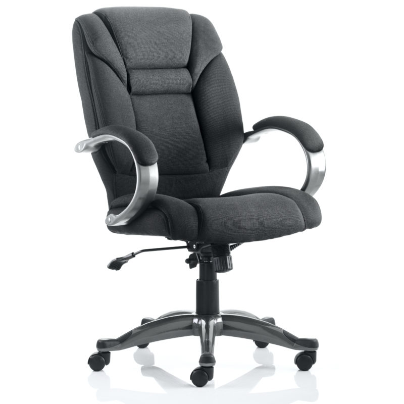 Galloway Executive Chair Black Fabric With Arms