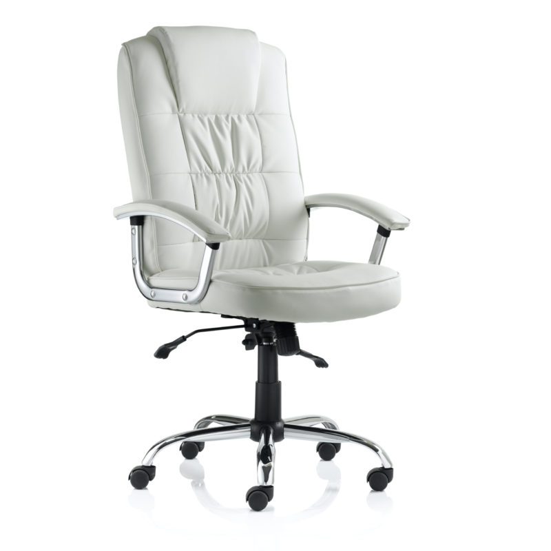 Moore Deluxe Executive Chair White Leather With Arms