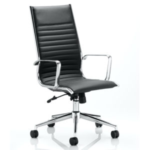 Ritz Executive High Back Chair Black Bonded Leather With Arms