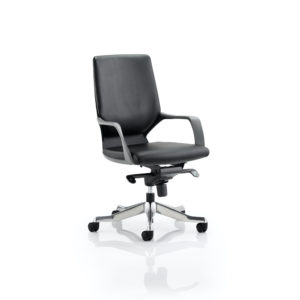 Xenon Executive Black Shell Medium Back Black Leather With Arms
