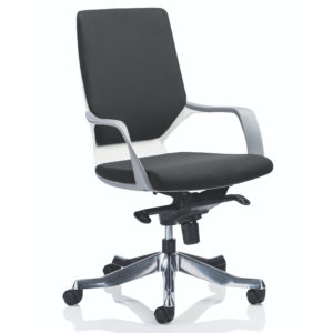 Xenon Executive White Shell Medium Back Black Fabric With Arms