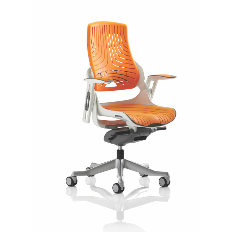 Zure Executive Chair Elastomer Gel Orange With Arms