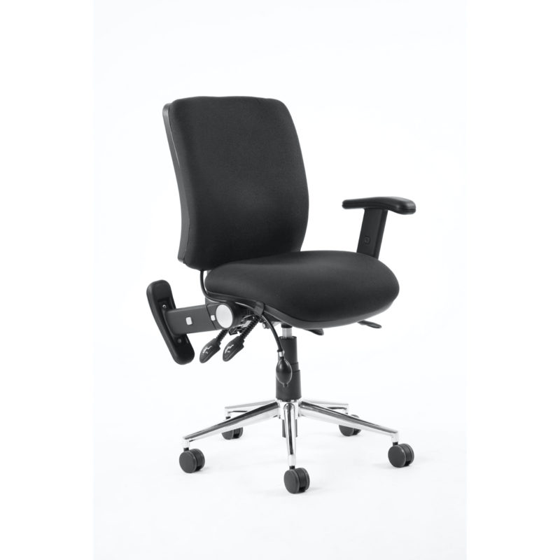 Chiro Medium Back Task Operators Chair Black With Height Adjustable And Folding Arms