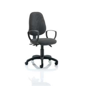 Eclipse III Lever Task Operator Chair Charcoal With Loop Arms