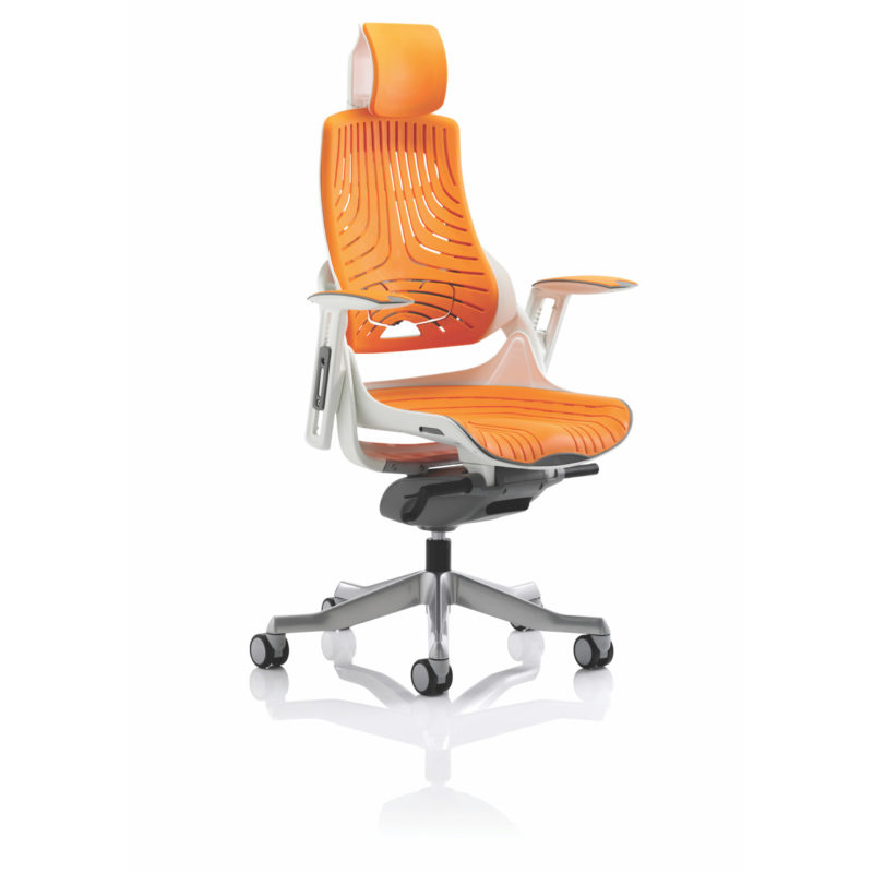 Zure Executive Chair Elastomer Gel Orange With Arms With Headrest