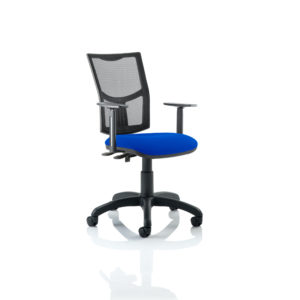 Eclipse II Lever Task Operator Chair Mesh Back With Blue Seat With Height Adjustable Arms