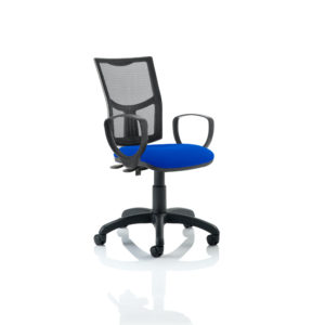 Eclipse II Lever Task Operator Chair Mesh Back With Blue Seat With loop Arms