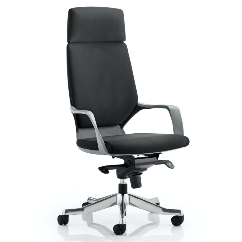 Xenon Executive Black Shell High Back Black Fabric With Headrest