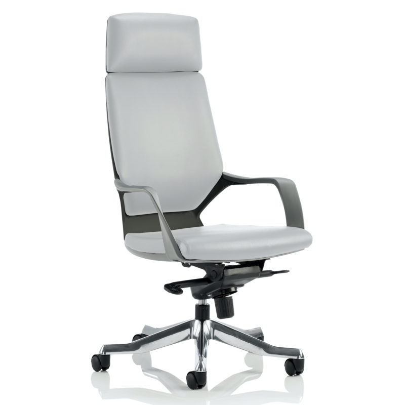 Xenon Executive Black Shell High Back White Leather With Headrest