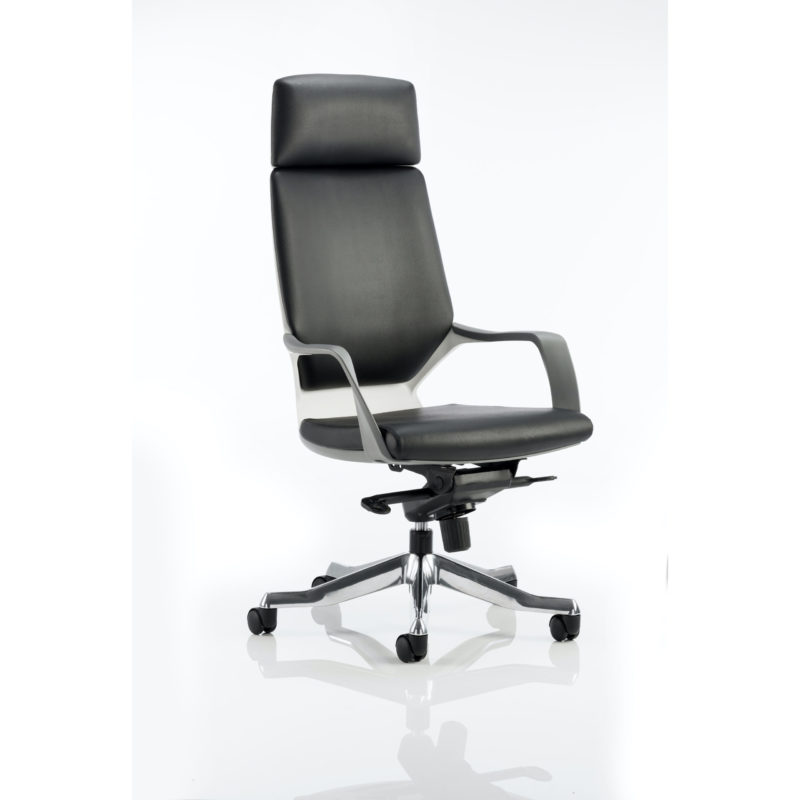 Xenon Executive White Shell High Back Black Leather With Headrest