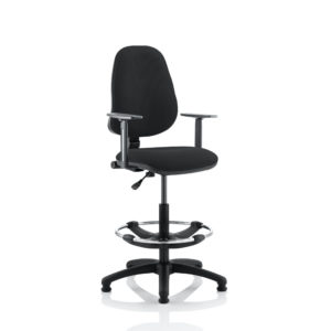 Eclipse I Lever Task Operator Chair Black With Height Adjustable Arms With Hi Rise Draughtsman Kit