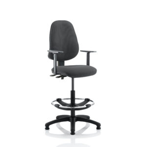 Eclipse II Lever Task Operator Chair Charcoal With Height Adjustable Arms With Hi Rise Draughtsman Kit