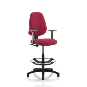 Eclipse II Lever Task Operator Chair Wine With Height Adjustable Arms With Hi Rise Draughtsman Kit