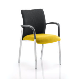 Academy Black Fabric Back Bespoke Colour Seat With Arms Senna Yellow