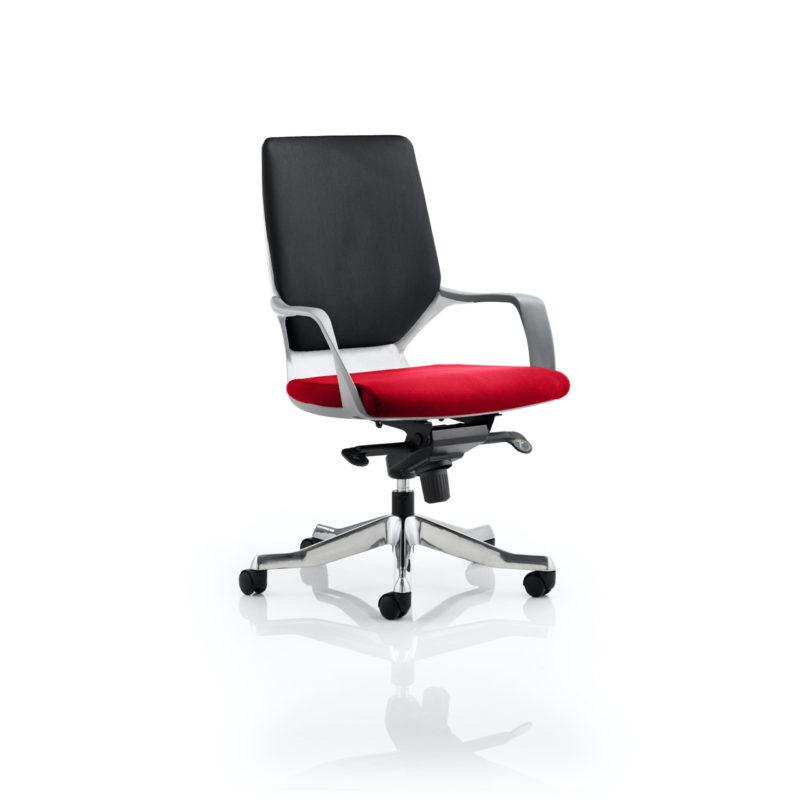 Xenon Executive White Shell Medium Back Bespoke Colour Seat Bergamot Cherry