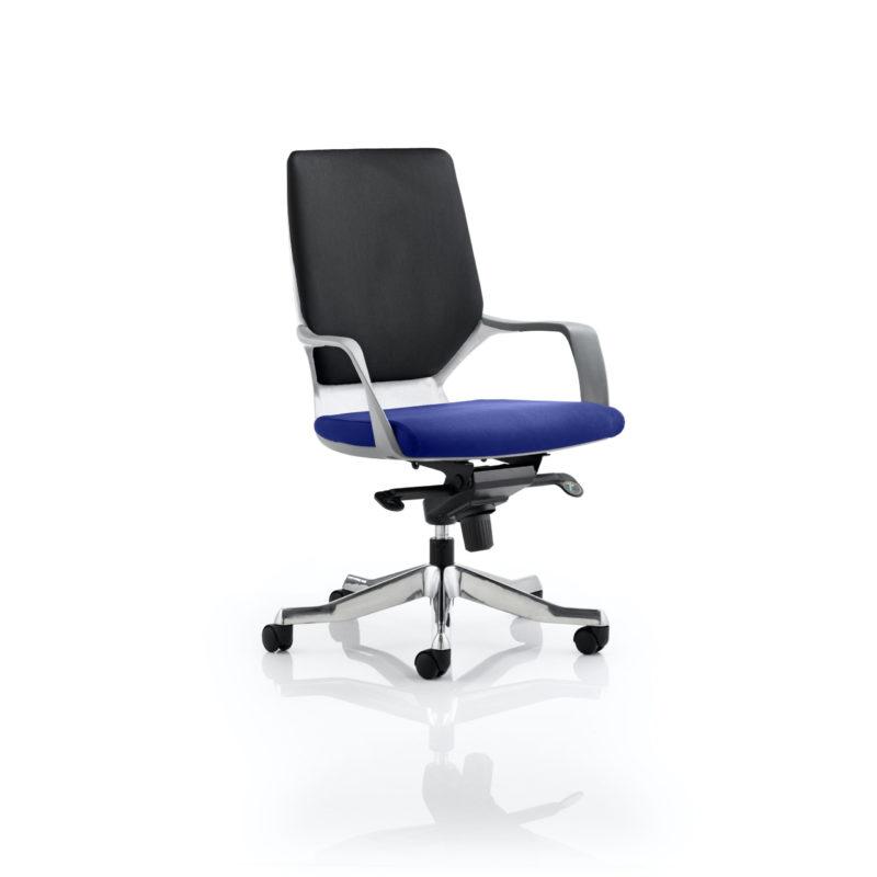 Xenon Executive White Shell Medium Back Bespoke Colour Seat Stevia Blue
