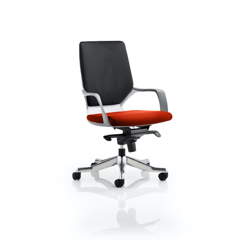 Xenon Executive White Shell Medium Back Bespoke Colour Seat Tabasco Red