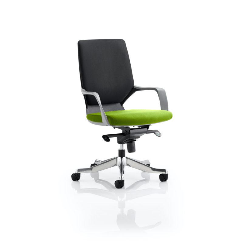 Xenon Executive Black Shell Medium Back Bespoke Colour Seat Myrhh Green