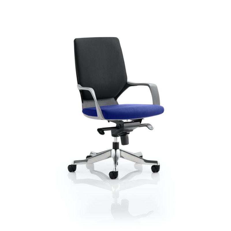 Xenon Executive Black Shell Medium Back Bespoke Colour Seat Stevia Blue