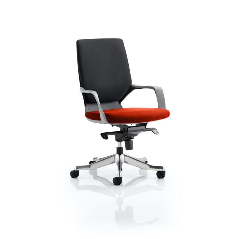 Xenon Executive Black Shell Medium Back Bespoke Colour Seat Tabasco Red