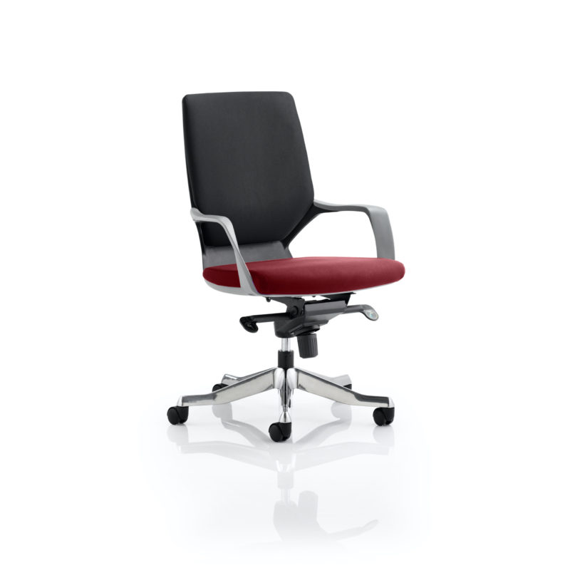 Xenon Executive Black Shell Medium Back Bespoke Colour Seat Gingseng Chilli