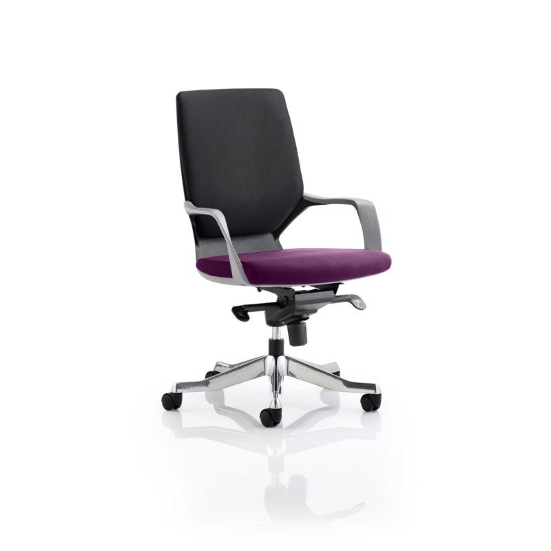 Xenon Executive Black Shell Medium Back Bespoke Colour Seat Tansy Purple