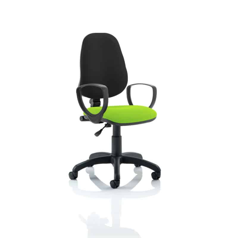 Eclipse I Lever Task Operator Chair Black Back Bespoke Seat With Loop Arms In Myrhh Green