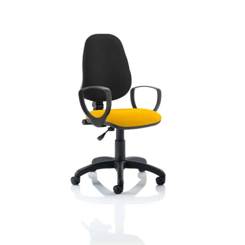 Eclipse I Lever Task Operator Chair Black Back Bespoke Seat With Loop Arms In Senna Yellow