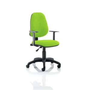 Eclipse I Lever Task Operator Chair Bespoke With Height Adjustable Arms In Myrhh Green