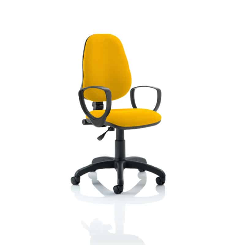 Eclipse I Lever Task Operator Chair Bespoke With Loop Arms In Senna Yellow