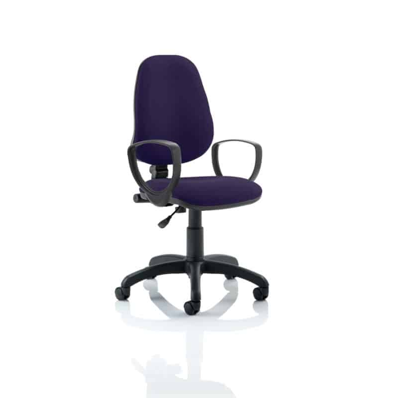 Eclipse I Lever Task Operator Chair Bespoke With Loop Arms In Tansy Purple