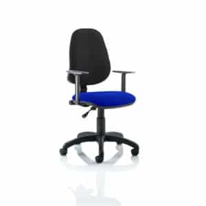 Eclipse I Lever Task Operator Chair Black Back Bespoke Seat With Height Adjustable Arms In Stevia Blue