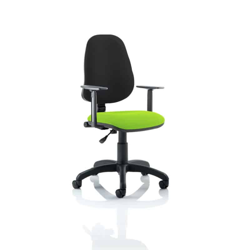 Eclipse I Lever Task Operator Chair Black Back Bespoke Seat With Height Adjustable Arms In Myrhh Green