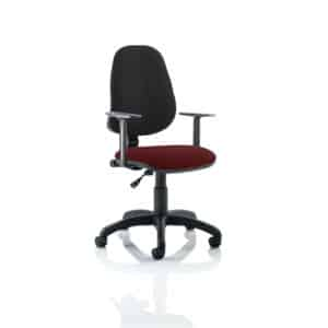Eclipse I Lever Task Operator Chair Black Back Bespoke Seat With Height Adjustable Arms In Gingseng Chilli