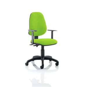 Eclipse II Lever Task Operator Chair Bespoke With Height Adjustable Arms In Myrhh Green