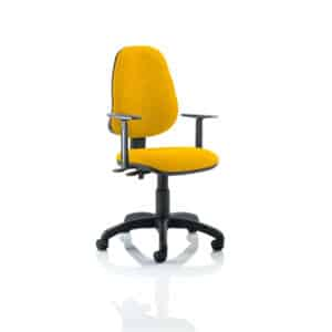 Eclipse II Lever Task Operator Chair Bespoke With Height Adjustable Arms In Senna Yellow