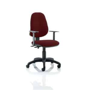 Eclipse II Lever Task Operator Chair Bespoke With Height Adjustable Arms In Gingseng Chilli