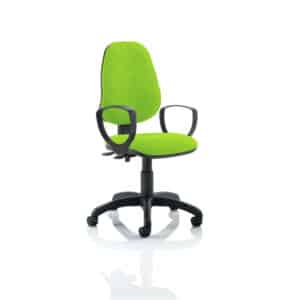 Eclipse II Lever Task Operator Chair Bespoke With Loop Arms In Myrhh Green