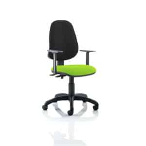 Eclipse II Lever Task Operator Chair Black Back Bespoke Seat With Height Adjustable Arms In Myrhh Green