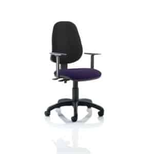 Eclipse II Lever Task Operator Chair Black Back Bespoke Seat With Height Adjustable Arms In Tansy Purple