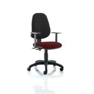 Eclipse II Lever Task Operator Chair Black Back Bespoke Seat With Height Adjustable Arms In Gingseng Chilli